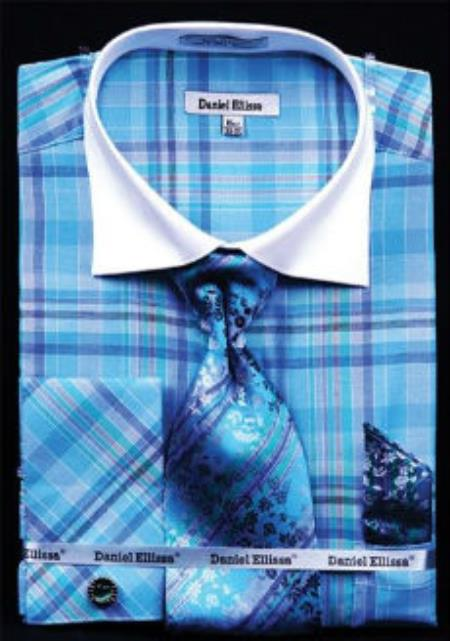 Product# MK804 Daniel Ellissa Windowpane Plaid Pattern French Cuff Dress Shirt Turquoise