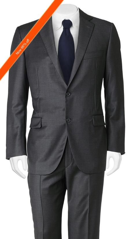 YM3209 Suit Slim narrow Style Cut European Liquid Jet Black in 2-Button