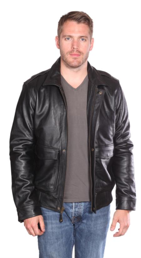 Roger Leather Bomber Liquid