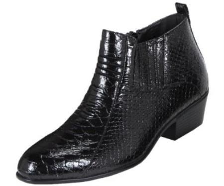 Product#KA3986 Liquid Jet Black Dress Boot Belly Snake Print