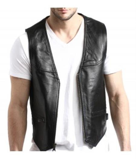 Product# PNI67 Liquid Jet Black Lambskin Leather Zip-Front Vest Available in Big and Tall Sizes