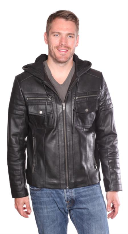 Warden Leather Bomber Jacket Liquid Jet Black Available in Big and Tall Sizes