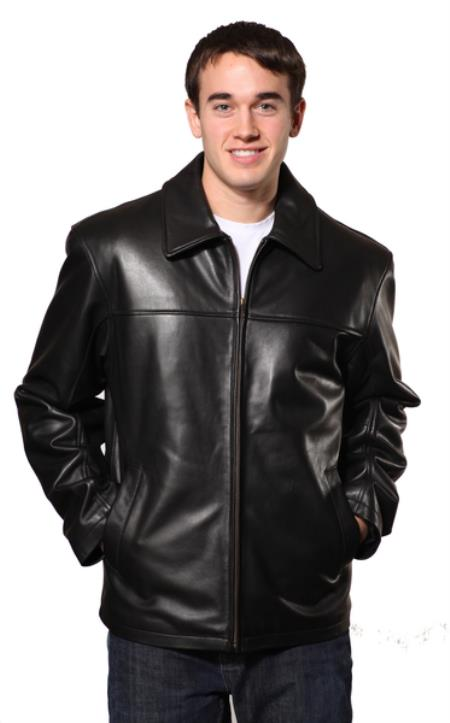 Product# PN80 Dean Leather Jacket Liquid Jet Black Available in Big and Tall Sizes