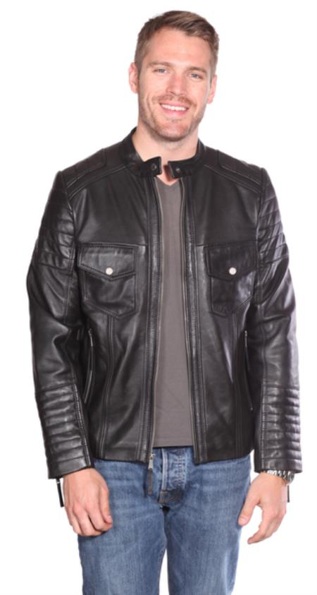 Product# PN84 Flynn Leather Quilted Jacket Liquid Jet Black Available in Big and Tall Sizes