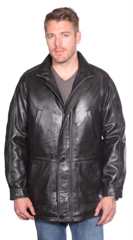 Product# PN86 Garner Leather Parka Liquid Jet Black Available in Big and Tall Sizes