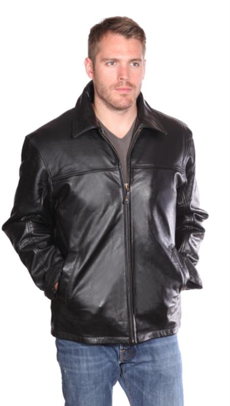 Product# PN94 Aston Leather Jacket Liquid Jet Black Available in Big and Tall Sizes