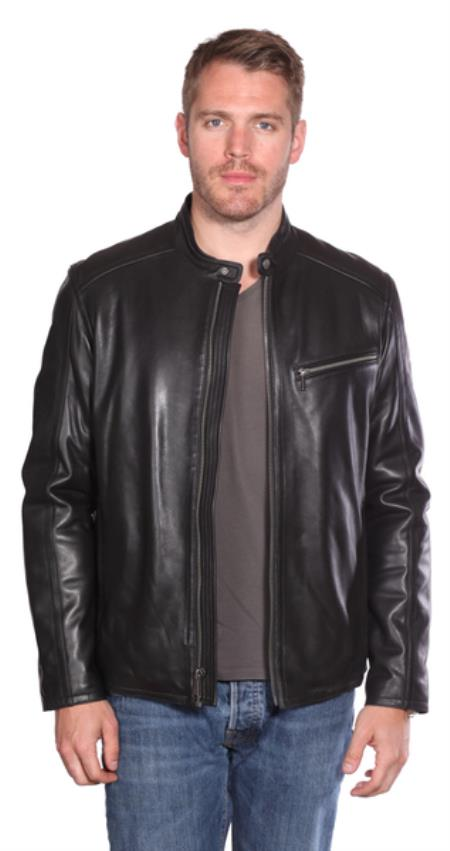 Stanton Leather Moto Jacket Liquid Jet Black Available in Big and Tall Sizes