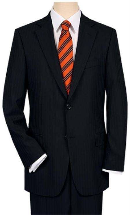 2 or 3 Button Style Vented without pleat flat front Liquid Jet Black Shadow Stripe ~ Pinstripe Suit