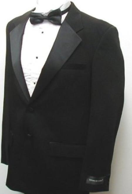 Product# VP9097 Package Deal New Fashionable Liquid Jet Black Two Button Tuxedo - Five Pieces (5pc)