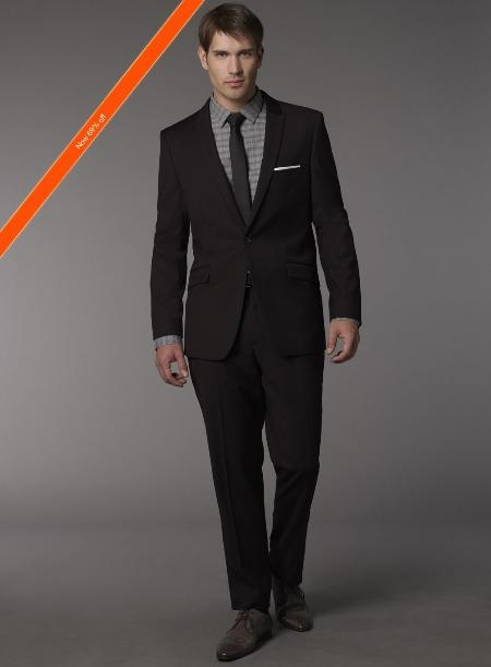 Slim narrow Style Fitted Cut Liquid Jet Black 1/2 Button Style Suit + Skinny Tie