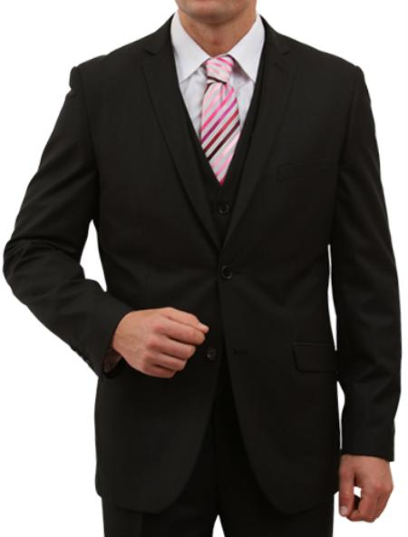 M155S000 Solid Liquid Jet Black 2 Button Style Front Closure Suit
