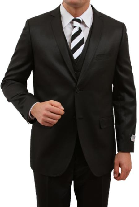 M163S000 Solid Liquid Jet Black 2 Button Style Front Closure Slim narrow Style Fit Suit