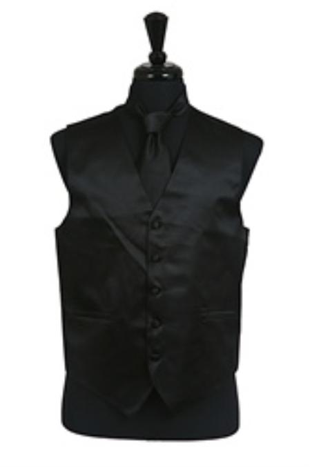 Product# VS1010 Vest Tie Set Liquid Jet Black