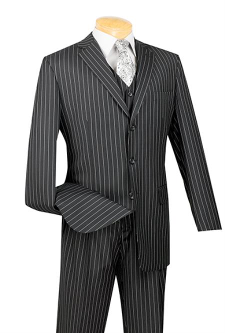 Product# Bw3927 3 Piece pronounce visible Chalk Pinstripe Liquid Jet Black Three Piece Vested Suit