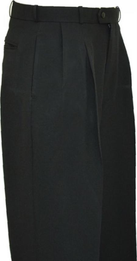 Product# LZ9992 Solid Liquid Jet Black Wide Leg Slacks Pleated Slacks baggy dress trousers 1920s 40s Fashion Clothing Look !