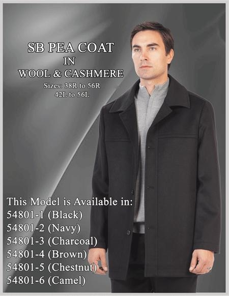Product# YD646 SB Car Coat ~ Wool Fabric/Cashmere Liquid Jet Black