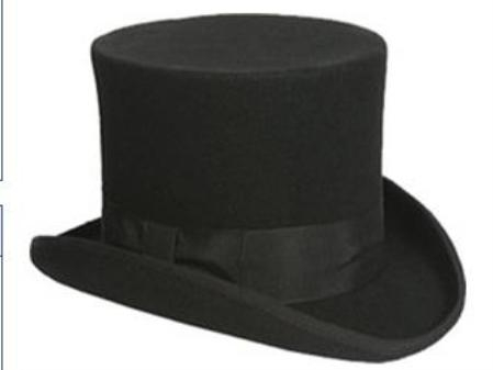 Product# TP1 elegant Liquid Jet Black or Gray 100% Wool Fabric top hat