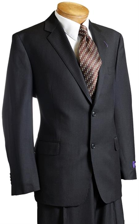 Liquid Jet Black Pinstripe Wool Fabric Italian Design Suit