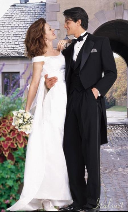 Liquid Jet Black Tailcoat Tuxedo 2PC Superior Fabric 150's Wool Fabric Hand Made premier quality italian fabric Design