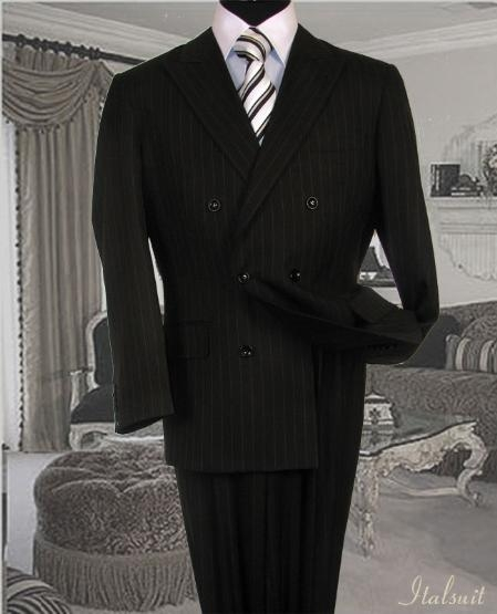 GC3434 Liquid Jet Black Suit With Smooth Stripe ~ Pinstripe