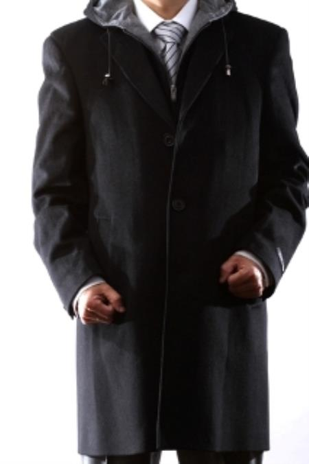 Product# KA5611 Young Generation Liquid Jet Black Wool Fabric Winter Coat, Liquid Jet Black, Dark Grey Masculine color