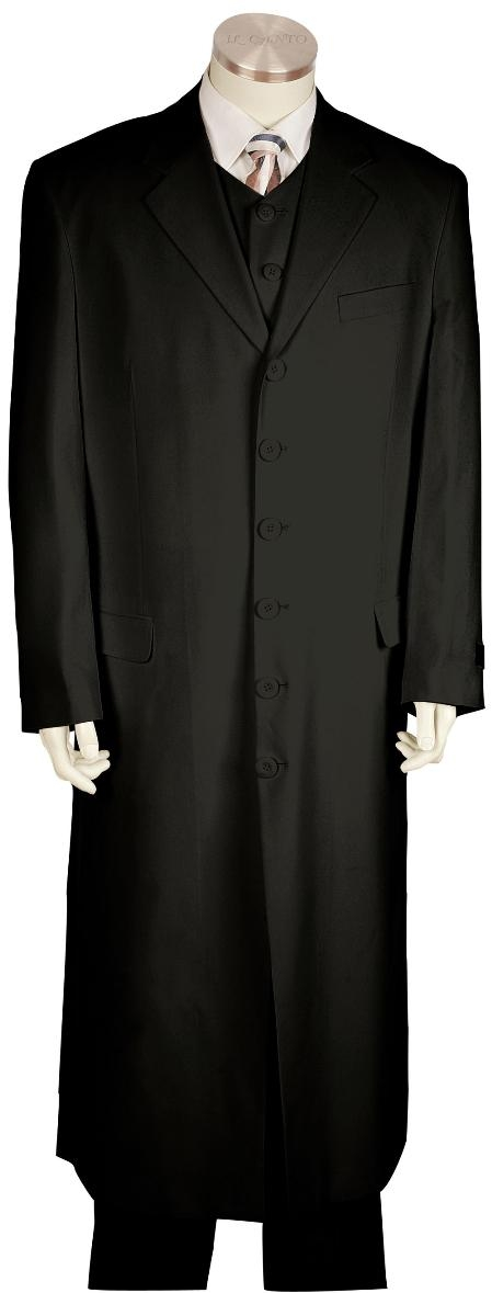 VY8171 Fashionable Long length Zoot Suit Liquid Jet Black