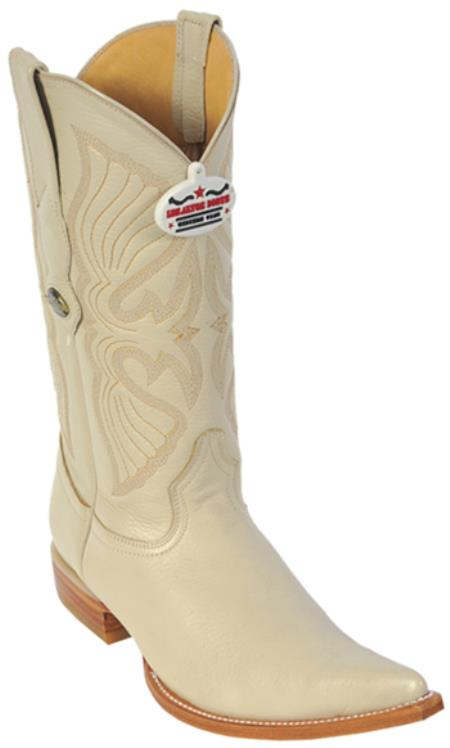 Product#KA6552 Deer Cream ~ Ivory ~ Off White Authentic Los altos Western Boots Cowboy Fashion Pointy Toe