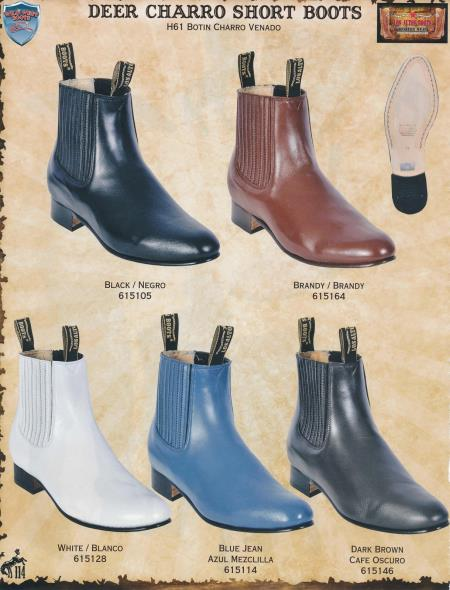 Product#Y32D Wild West Genuine Deer Charro Short Cowboy Western Boots Diff.Colors/Sizes Black/White/Brandy/brown color shade