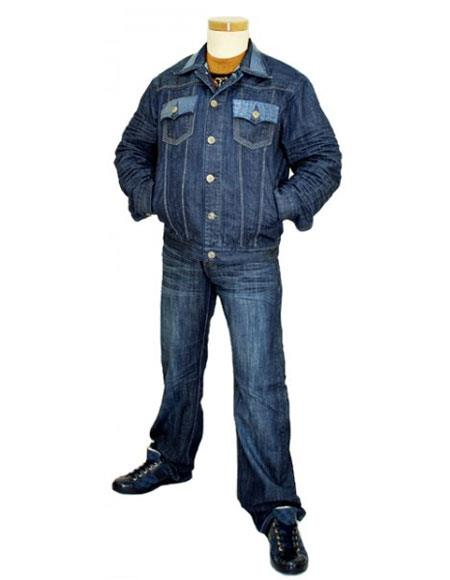 Product# GD944 G-Gator Men's 5 Buttons Navy Blue Genuine Hornback Alligator Denim Outfit Jacket