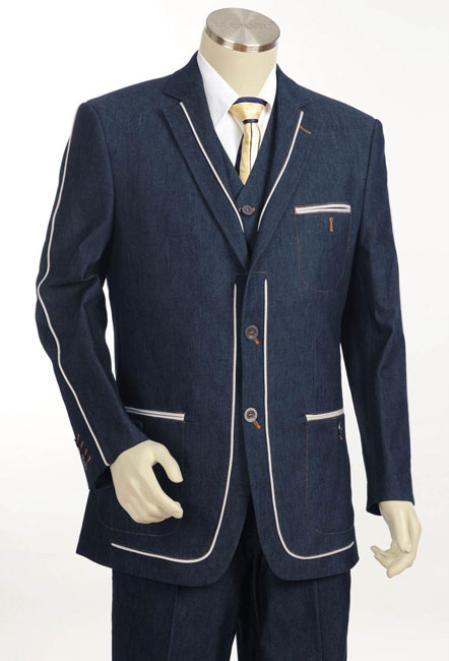 2 Button Style 3pc Fashion Denim Cotton Fabric Trimmed Two Tone Blazer Online Sale/Suit/Tuxedo Navy