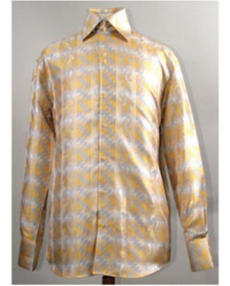 Product# JSM-2761 Men's High Collar Diamond Pattern Shiny Mustard Shirt