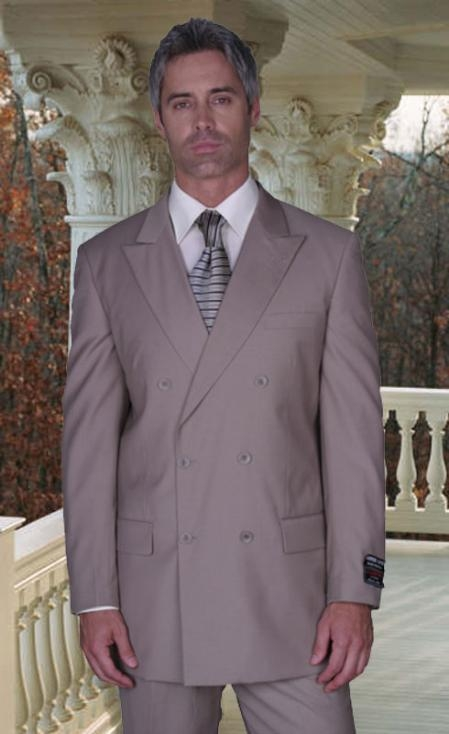 AMS455 JPR-27 CLASSIC DOUBLE BREASTED SOLID COLOR Tan khaki Color ~ Beige SUIT