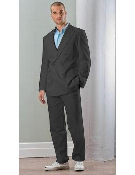 Mens Black Linen Double