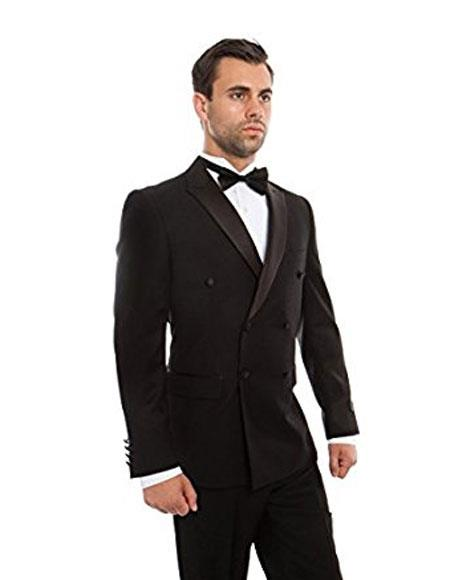 Double Breasted Tuxedo Mens Black Slim Fit Double breasted 1920s Style Tuxedo Flat Front Pants