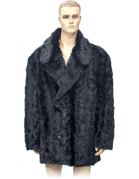 Mens Fur Double Breasted