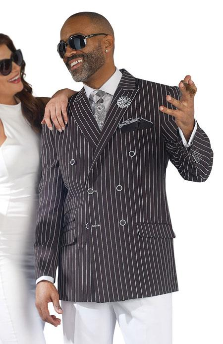Product# JSM-2717 Gangester 1920s Clothing Bold Chalk Bold Pinstripe Black Double Breasted Suits (White Pants)