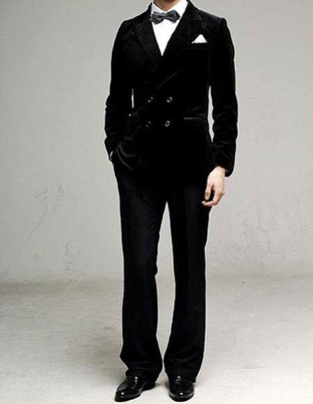 men's black Double Breasted Peak Lapel Cotton Velvet suit
