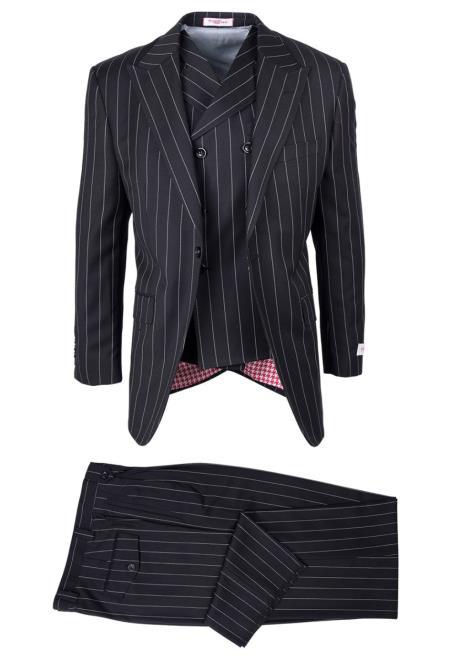 SM4756 Mens Wool San Giovesse Black Bold Pinstripe