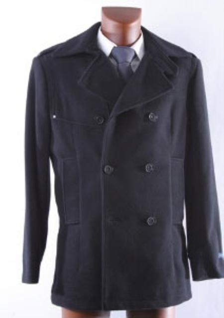 Product# KA 9901 Double Breasted Liquid Jet Black Wool Fabric Winter Coat