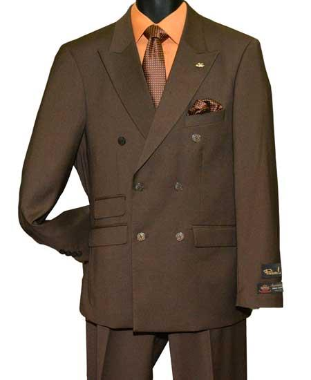 Mens Brown Peak Lapel