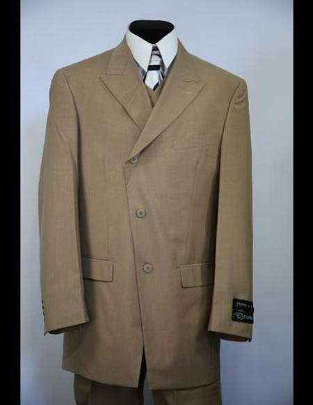 men's double Breasted Wide Peak Lapel stripe brown zoot Suit For sale ~ Pachuco men's Suit Perfect for Wedding