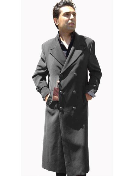 Product# JSM-6410 Mens Top Coat Buttons Closure Double Breasted Overcoat Charcoal Grey ~ Gray Topcoat