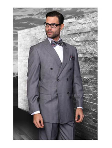 Double Breasted Charcoal Grey Suit