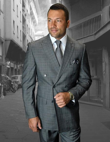 5d37068ab4b00 Mens Plaid ~ Windowpane Checker Double Breasted Suit