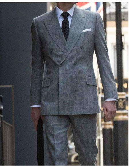 Men's Colin Firth Dark Grey Double Breasted Button Closure Suit