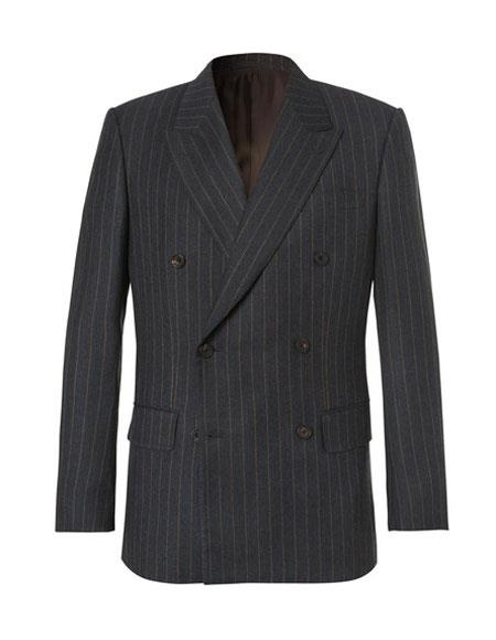 Product# CH1938 kingsman chalk-striped Double Breasted Wool eggsy charcoal suit
