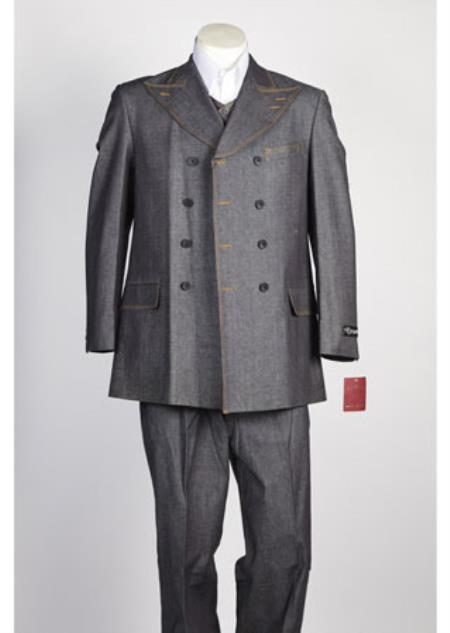 Product# JSM-115 Mens Grey Fabric Double Breasted Suit Fashion Denim Cotton Jean
