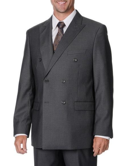 Product# GD1326 Caravelli Men's Grey Double Breasted Classic Fit Button Closure Vested Suit