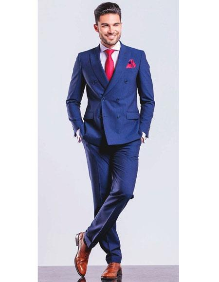 Product# JSM-6034 Mens Royal ~ Indigo ~ Cobalt New Blue Double Breasted Suit