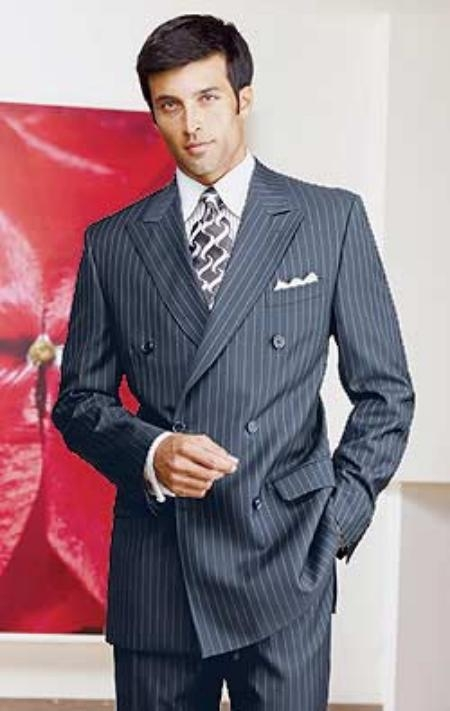 Product# Ber_28 Navy Blue Shade Pinstripe Double Breatsed